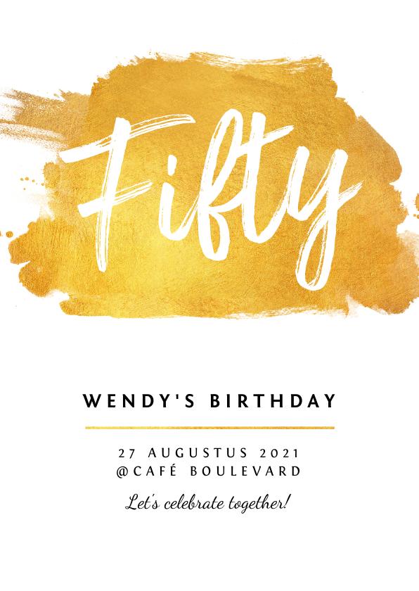 Uitnodigingen - Uitnodiging verjaardag stijlvol met goud