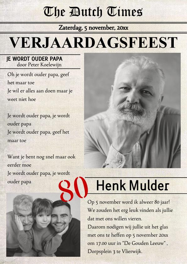Uitnodigingen - Uitnodiging verjaardag voorpagina krant