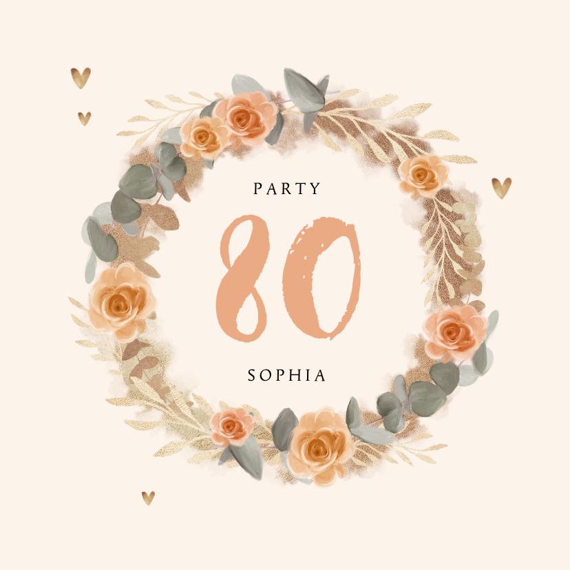 Uitnodigingen - Uitnodiging verjaardag vrouw bloemen klassiek goud
