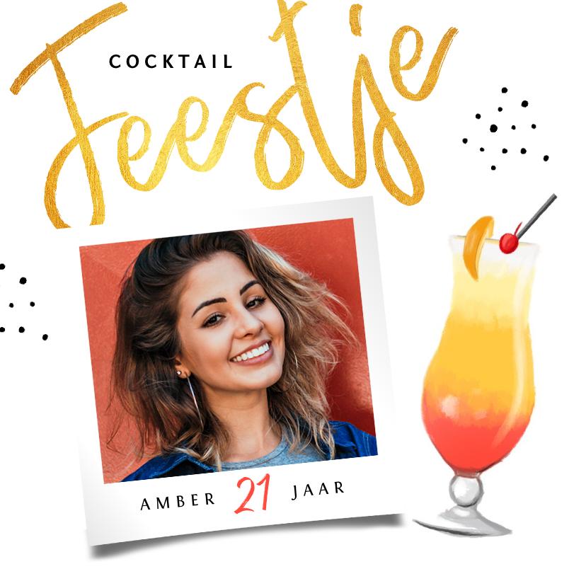Uitnodigingen - uitnodiging verjaardag vrouw cocktail feestje met foto