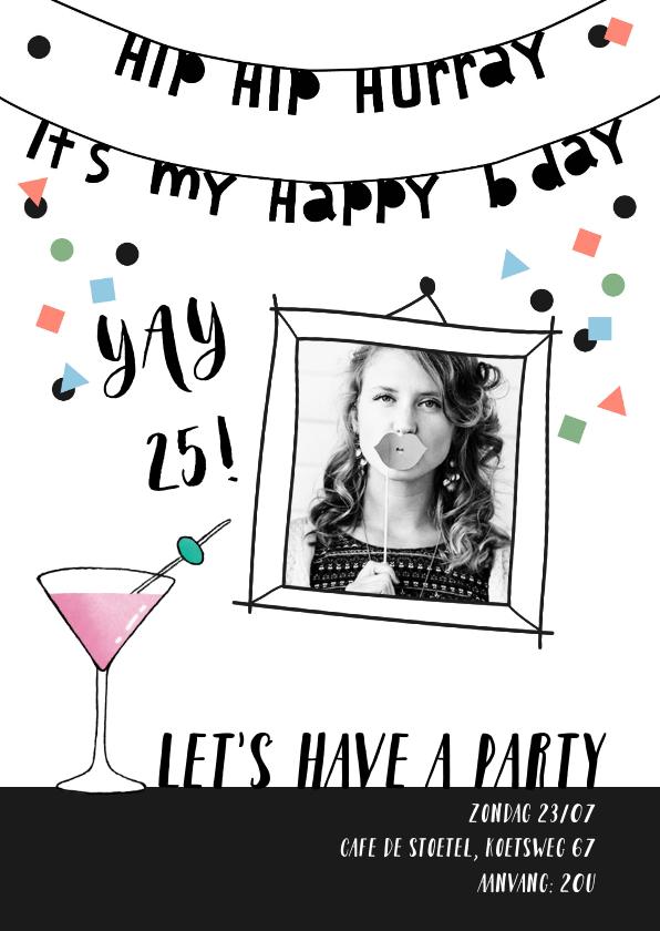 Uitnodigingen - Uitnodiging verjaardag vrouw confetti met eigen foto