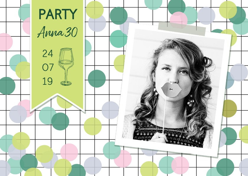 Uitnodigingen - Uitnodiging verjaardag vrouw confetti