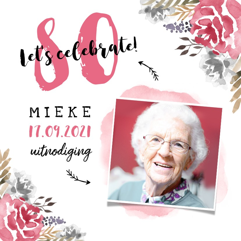 Uitnodigingen - Uitnodiging verjaardag  vrouw hip met geschilderde bloemen
