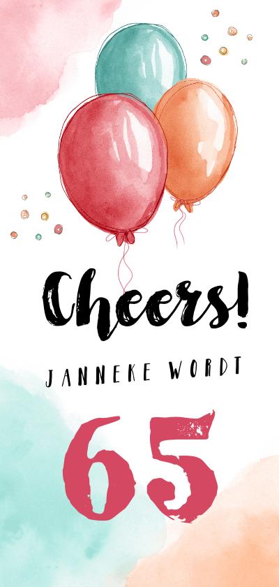 Uitnodigingen - Uitnodiging verjaardag vrouw hip met waterverf ballonnen