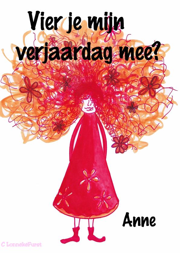 Uitnodigingen - Uitnodiging verjaardag-vrouw-kinderfeest