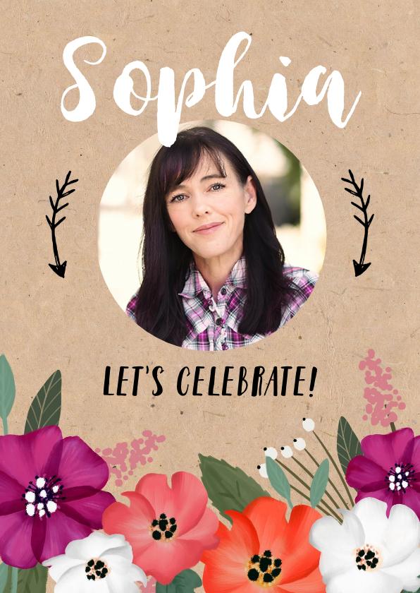 Uitnodigingen - Uitnodiging verjaardag vrouw kraftlook met vrolijke bloemen