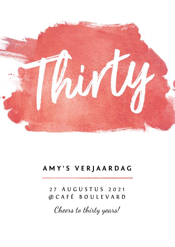 Uitnodigingen - Uitnodiging verjaardag vrouw met roze goudlook verf en foto