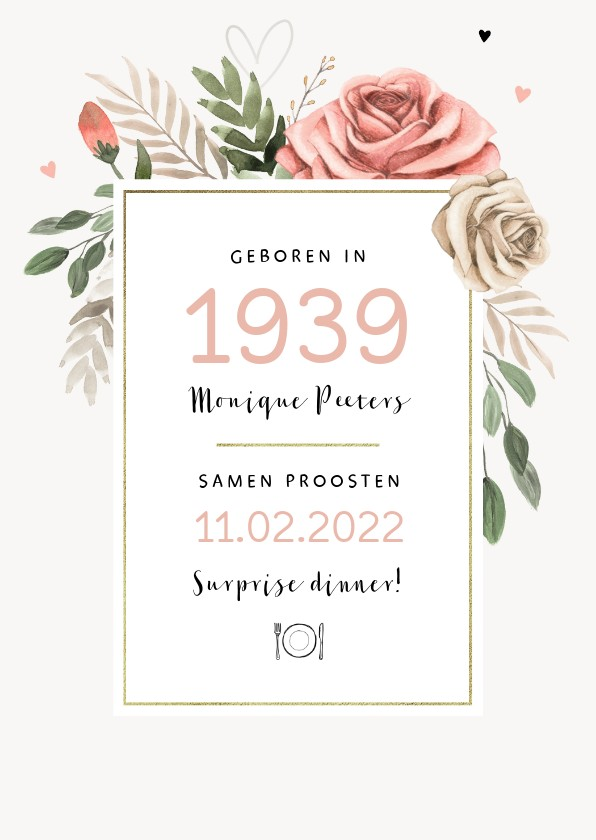 Uitnodigingen - Uitnodiging verjaardag vrouw vintage bloemen jaartal