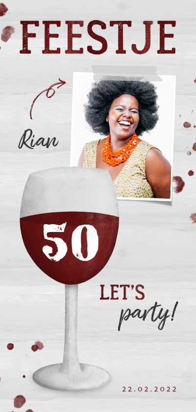 Uitnodigingen - Uitnodiging verjaardag wijnglas met foto en leeftijd