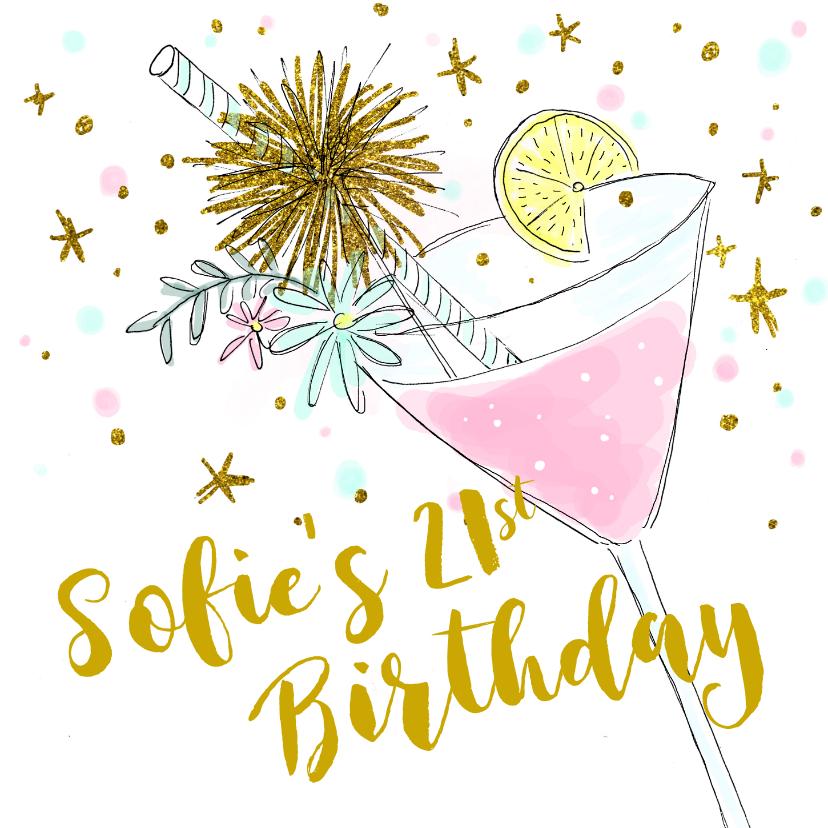 Uitnodigingen - Uitnodiging verjaardagsfeest cocktail hip