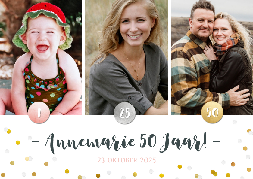Uitnodigingen - Uitnodiging verjaardagsfeest confetti fotocollage 3 foto's
