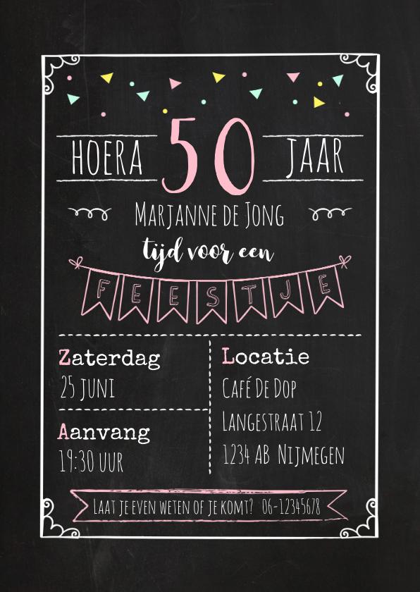 Uitnodigingen - Uitnodiging verjaardagsfeest krijtbord - vrouw