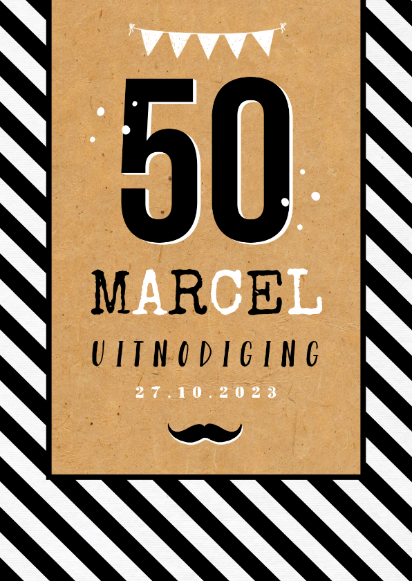 Uitnodigingen - Uitnodiging verjaardagsfeest man 50 jaar kraft zwart wit