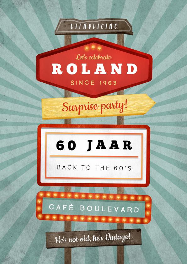 Uitnodigingen - Uitnodiging verjaardagsfeest man retro vintage signs