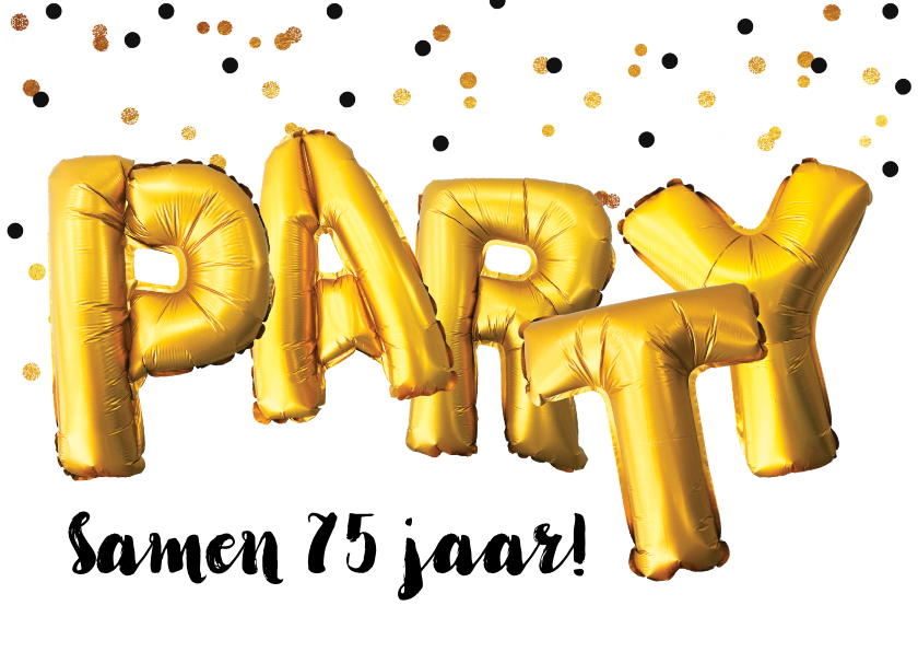 Uitnodigingen - Uitnodiging verjaardagsfeest samen jarig Party goud confetti