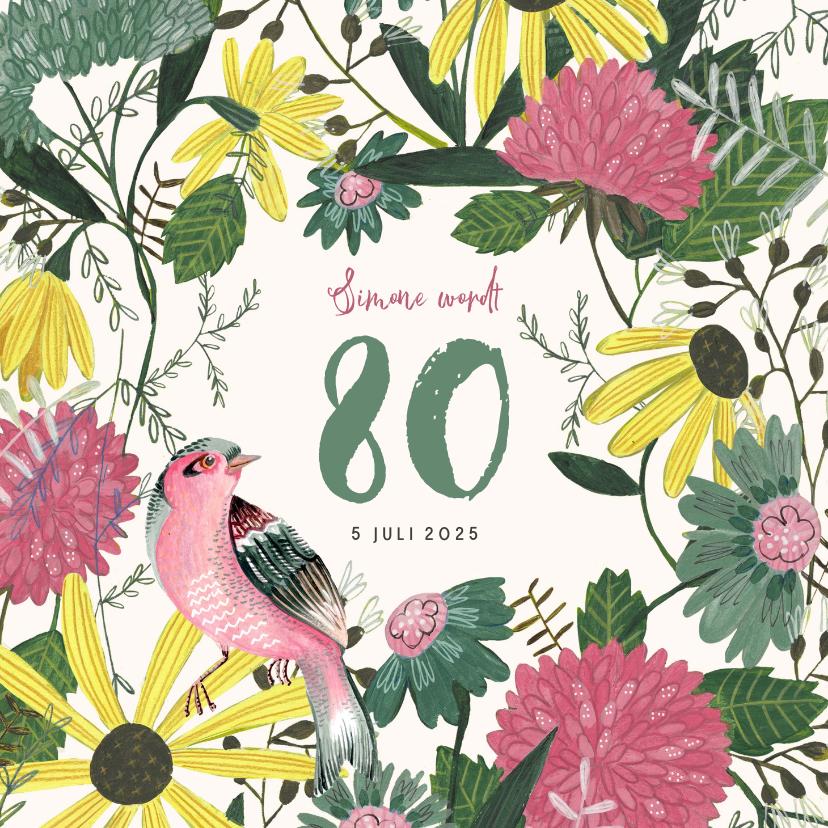 Uitnodigingen - Uitnodiging verjaardagsfeestje botanisch bloemen en vogel