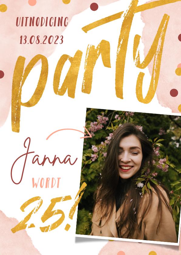 Uitnodigingen - Uitnodiging verjaardagsfeestje confetti en waterverf roze
