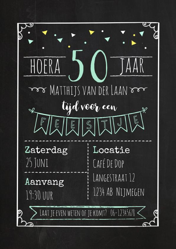 Uitnodigingen - Uitnodiging  verjaardagsfeestje krijtbord