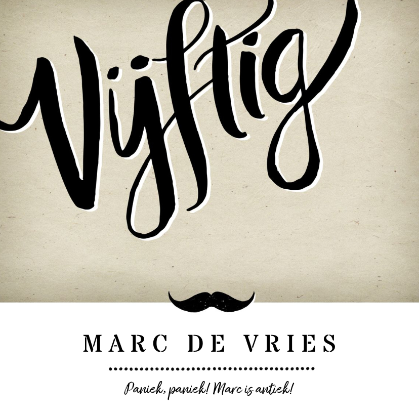 Uitnodigingen - Uitnodiging vijftig vintage man met snor
