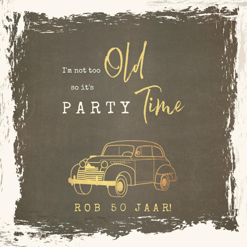 Uitnodigingen - Uitnodiging vintage met goudkleurige oldtimer
