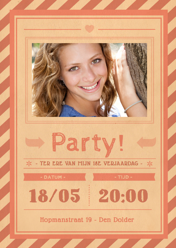 Uitnodigingen - Uitnodiging vintage roze 1LS3