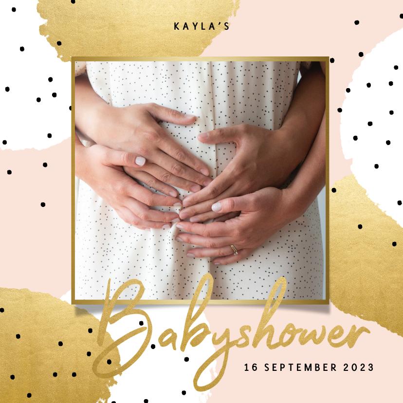 Uitnodigingen - Uitnodiging voor je babyshower goud roze en zwarte stipjes