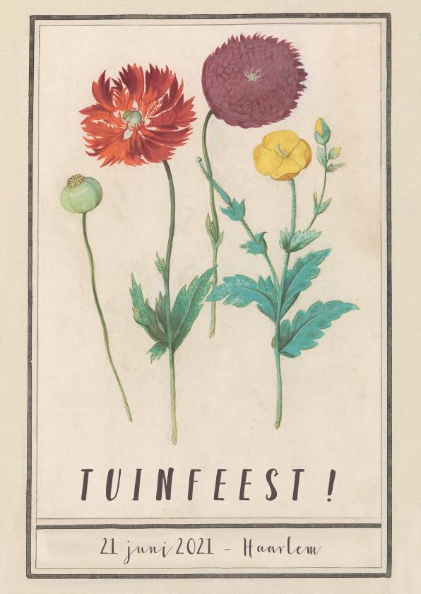 Uitnodigingen - Uitnodiging voor tuinfeest met vintage bloemen