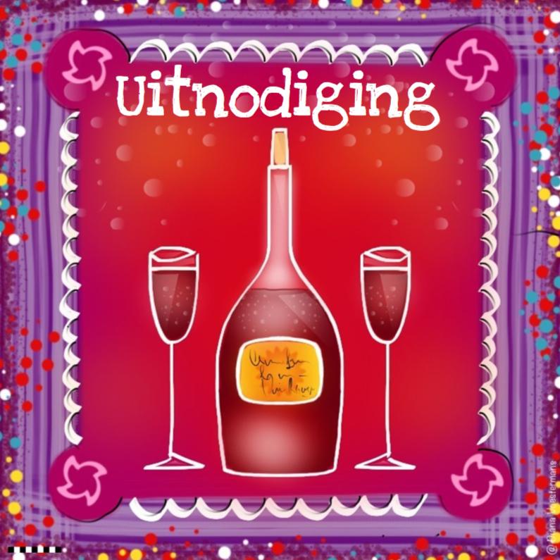Uitnodigingen - Uitnodiging wijnfles met glazen