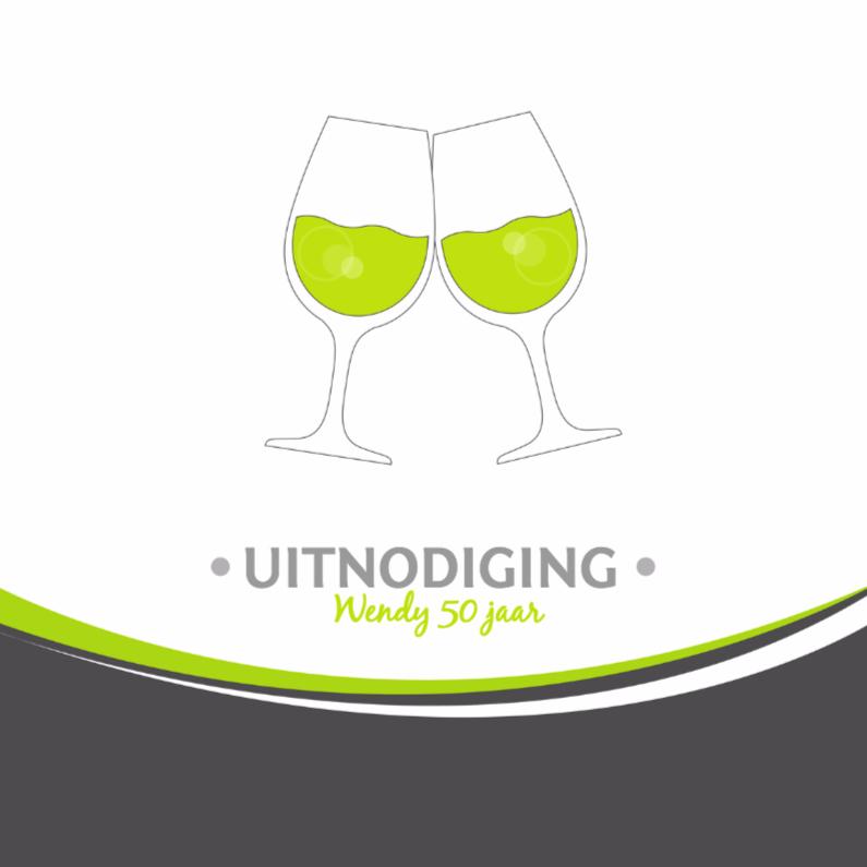 Uitnodigingen - Uitnodiging wijnglazen