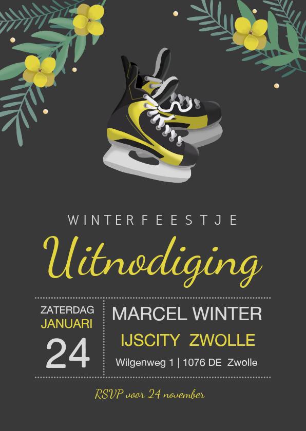 Uitnodigingen - Uitnodiging winterfeest ijshockey schaatsen