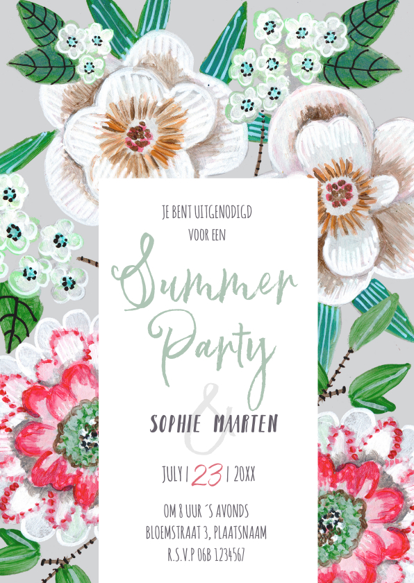 Uitnodigingen - Uitnodiging zomerfeest botanisch bloemen grijs