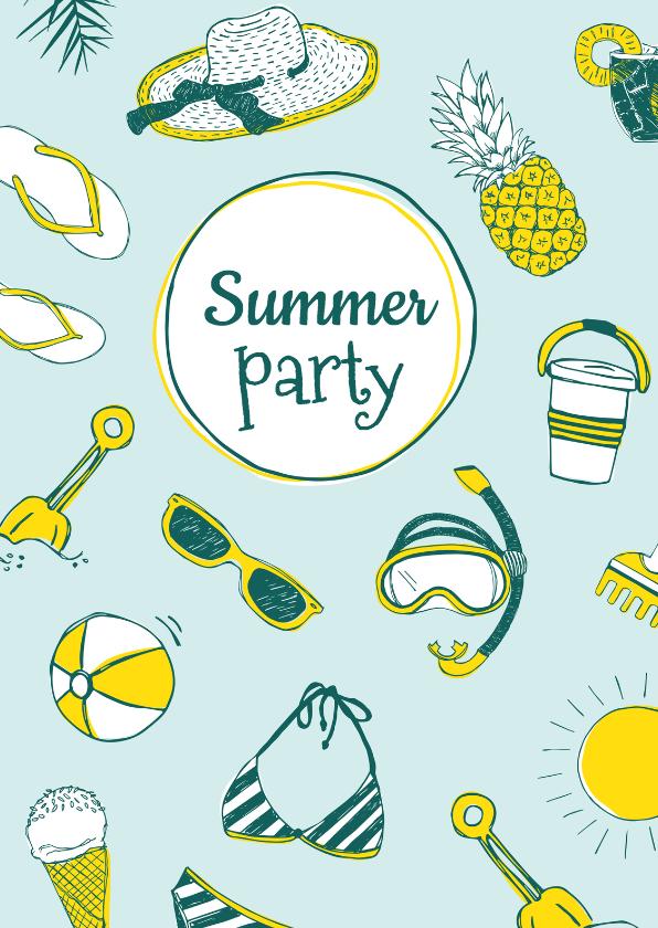 Uitnodigingen - Uitnodiging zomers verjaardagsfeest
