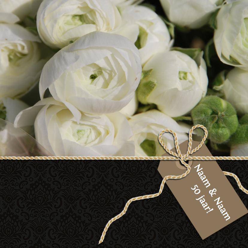 Uitnodigingen - Uitnodiging zwart witte bloem