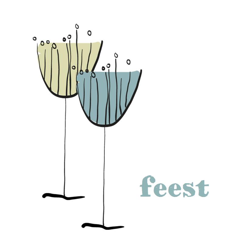 Uitnodigingen - Uitnodigingen Feest champagne