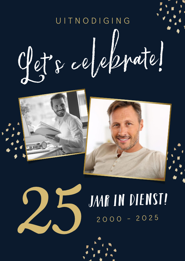 Uitnodigingen - Uitnodigingskaart 25 jaar in dienst feestje confetti foto