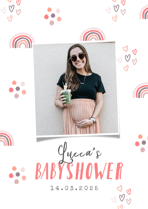 Uitnodigingen - Uitnodigingskaart babyshower meisje regenboog hartjes foto