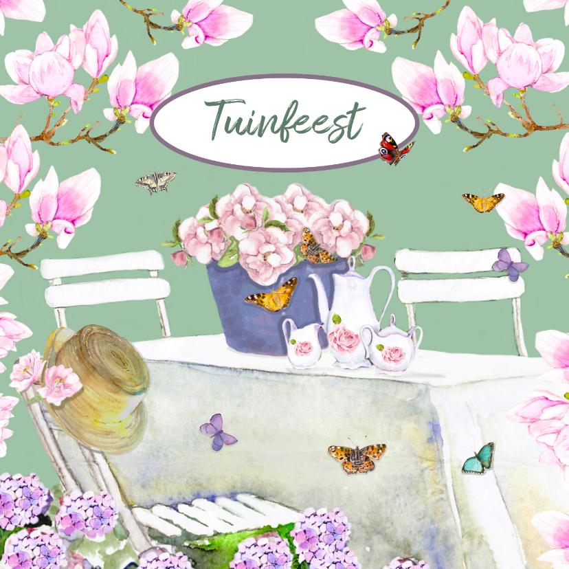 Uitnodigingen - Uitnodigingskaart Bloemen tuinfeest