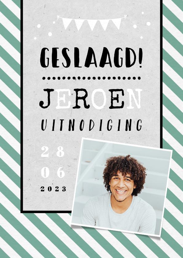 Uitnodigingen - Uitnodigingskaart geslaagd man hip groen foto