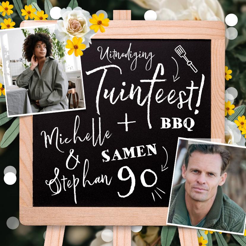 Uitnodigingen - Uitnodigingskaart met krijtbord, bloemen en confetti