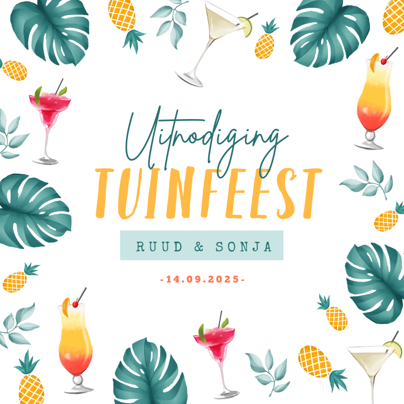 Uitnodigingen - Uitnodigingskaart tuinfeest tropisch cocktails zomer