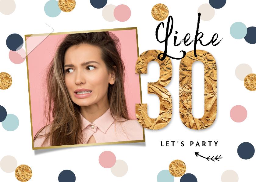 Uitnodigingen - Uitnodigingskaart verjaardag 30 vrouw confetti goud hip