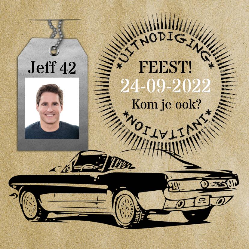 Uitnodigingen - Uitnodigingskaart vintage stoer