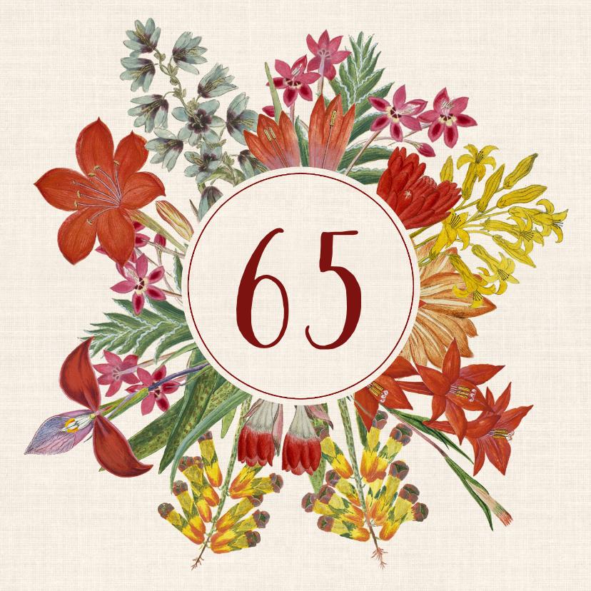 Uitnodigingen - Uitnodigingskaart voor een verjaardag met bloemenkrans