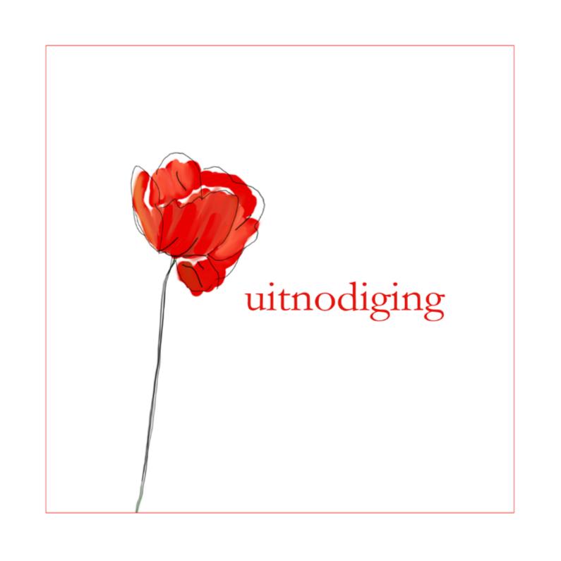 Uitnodigingen - uitnoding met rode klaproos