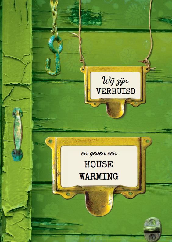 Uitnodigingen - Verhuiskaart groen hout SG