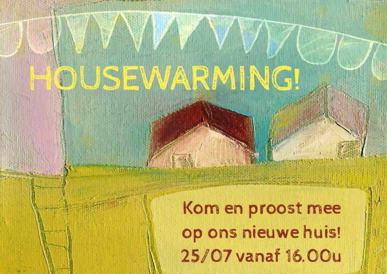 Uitnodigingen - Verhuiskaart housewarming huisje