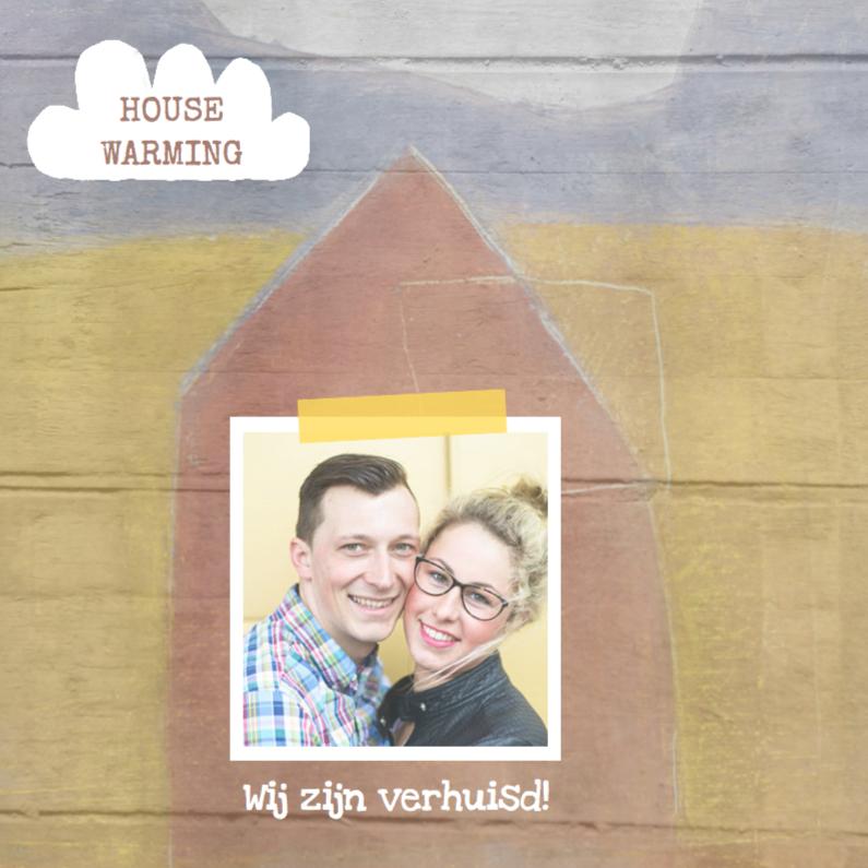 Uitnodigingen - Verhuiskaart hout huis foto
