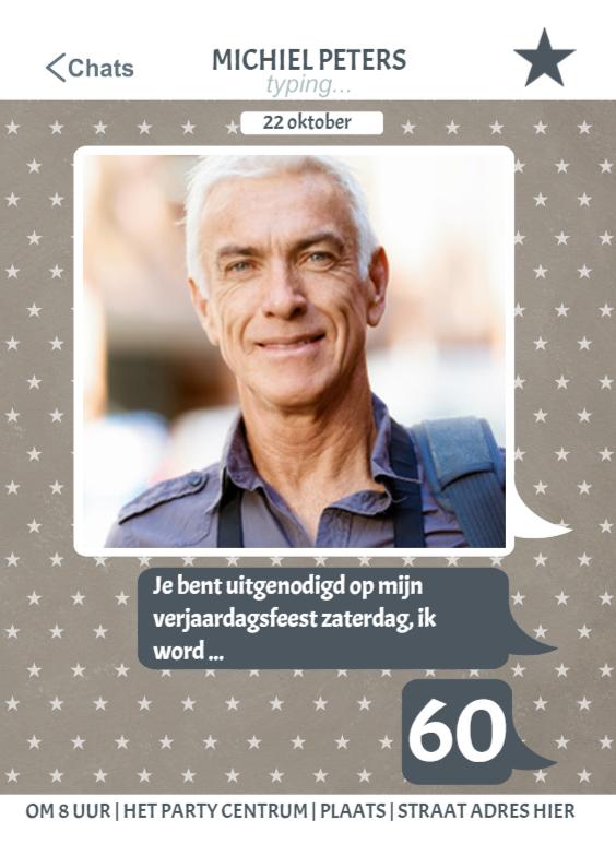 Uitnodigingen - Verjaardag Chat Uitnodiging 60