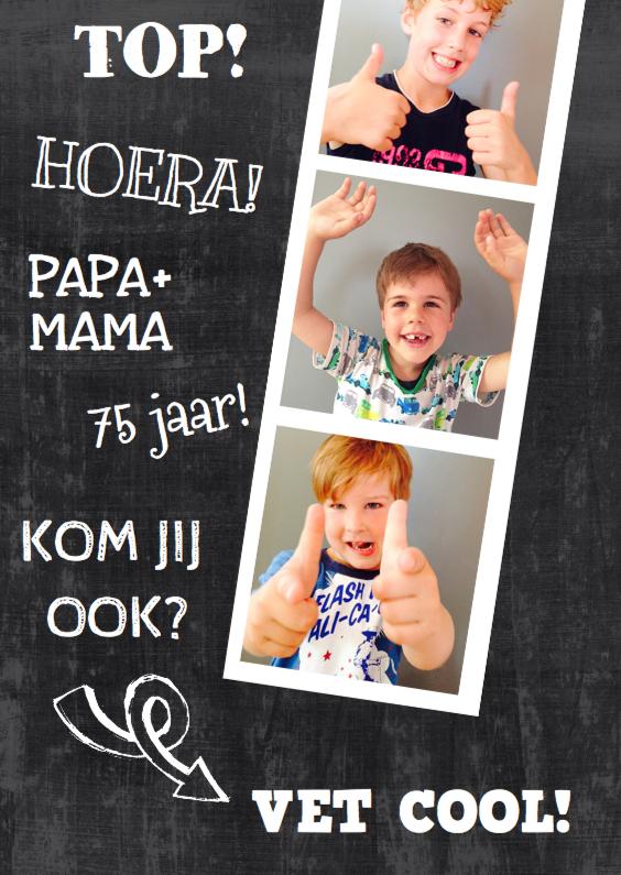 Uitnodigingen - verjaardag feest schoolbord foto