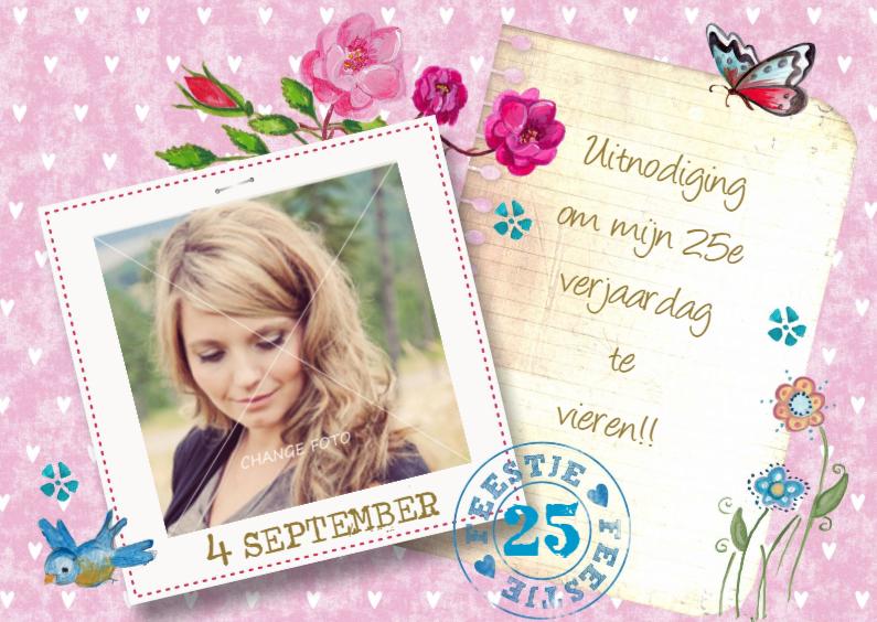 Uitnodigingen - Verjaardag FEEST xx jaar Eigen Foto roze
